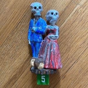 Day of the Dead Bride Groom Skull Figurine 5""
